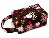 Stitched by JessaLu Box Bag - Pink Skully on Cordouroy