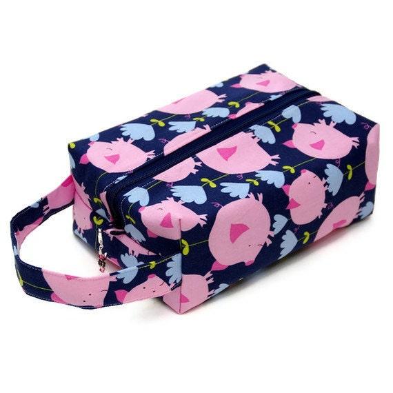 Project Bag Boxy Knitting Bag - Pigs