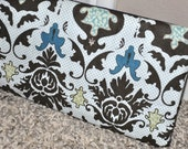 Draft Stopper. Updated and modern.  Designer damask fabric..... washable, reuseable, zippered closure