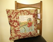 Antique book page pillow cover. Baby Charlotte