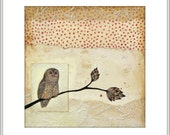 OWL PRINT - Barred owl giclee print - red beige neutral home decor