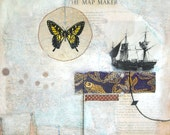THE MAP MAKER / white Ship Navigation coast nautical boat ocean Butterfly mixed media painting reproduction / Nautical Art