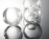 6pcs Hand Blown Hollow Glass-Round Clear Two Hole 20mm (17H2)