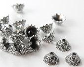 20pcs Oxidized Silver Tone Base Metal Findings-Cap 12x7mm (13355Y-T-1A)
