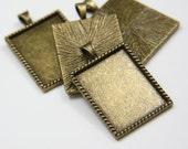 4pcs Antique Brass Tone Base Metal Cameo Settings-38x25mm (12192Y-E-61B)