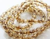 50pcs Czech Glass Beads Fancy Round-Crystal Travertine Luster 6mm (PG239710) D*