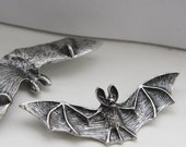 2pcs Oxidized Silver Plated Pendant - Bat  78x26mm (12C-F-324)