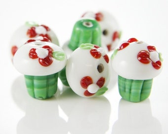 4pcs Limited Edition Lampwork Glass Beads-Cupcake 18x16mm (83Z-2)
