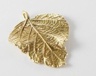 One Non-Tarnishing Bronze Charm-Leaf 37x28mm (3006)