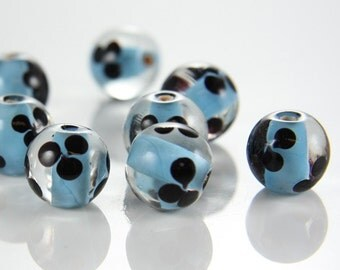 6pcs limited edition lampwored glass bead-Near Round 12x14mm (5Z-3)