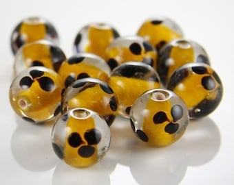 6pcs limited edition lampwored glass bead-Near Round 12x14mm (30Z-1)