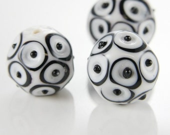 2pcs Limited Edition Lampwork Glass Beads-Bumpy Round 22mm (27Z)