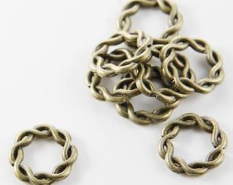 30pcs Antique Brass Tone Base Metal Links-Ring 15mm (294Y-C-133B)