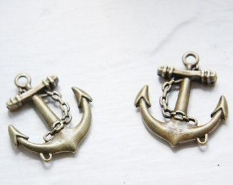 4pcs Antique Brass Tone Base Metal Charms-Anchor 30x27mm (26441Y-G-153B)