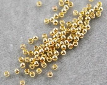 100pcs Bright Gold Tone Brass Base Crimp Beads-2.5mm (325C-I-48)