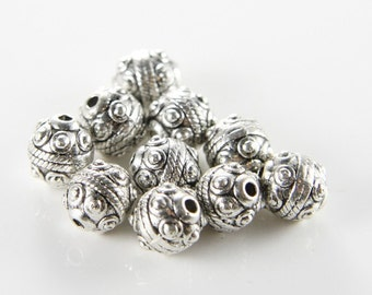 16pcs Oxidized Silver Tone Base Metal Beads-Round 9mm (1206X-F-158A)