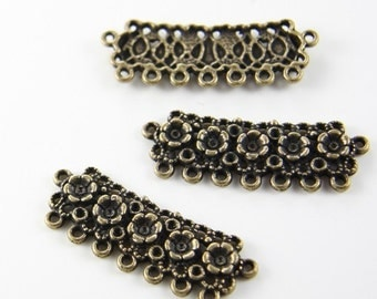 4pcs Antique Brass Tone Base Metal Multiple Strand Links with Rhinestone Holes-43x16mm (13169Y-C-81)