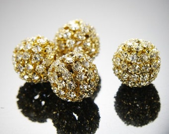 2pcs Bright Gold Tone Base Metal  Rhinestone Balls-20mm (G-224)
