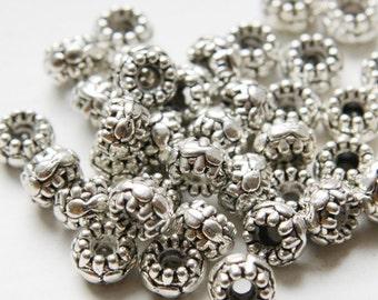 30pcs Oxidized Silver Tone Base Metal Spacers-8x5mm (806X-E-352)