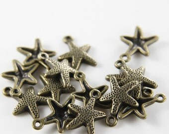 30pcs Antique Brass Tone Base Metal Charms-Sea Star 16.5x12mm (463Y-D-168B)