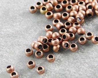 100pcs Antique Copper Tone Brass Base Crimp Beads-2mm (324C-I-336)