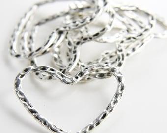 12pcs Oxidized Silver Tone Base Metal Charms-Textured Heart 38x30mm (997X-D-117A)