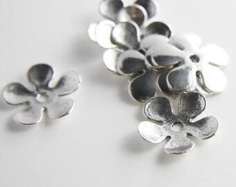 12pcs Oxidized Silver Tone Base Metal Caps-20x2mm (10402Y-K-48A)