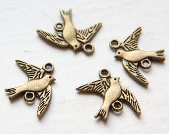 20pcs Antique Brass Base Metal Charms-Bird 22x18mm (14364Y-C-138)