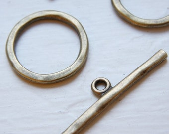 4 Sets Antique Brass Tone Base Metal Clasps-Toggle (12350Y-K-177B)