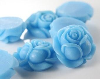 6pcs Acrylic Flower Cabochons-Blue 26x25mm (F0003-A-23A)