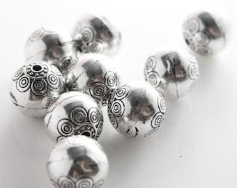 4pcs Oxidized Silver Tone Base Metal Spacers-Round 18mm (12969Y-B-311)