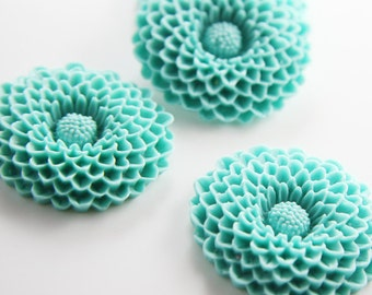 4pcs Acrylic Flower Cabochons-Turquoise 38mm (F0015-A-134)