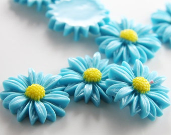 6pcs Acrylic Flower Cabochons-Turquoise and Yellow  28mm (F0007-A-72)