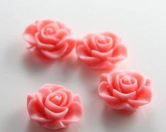 8pcs Acrylic Flower Cabochons-Pink 20mm (2F2)