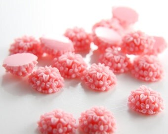 10pcs Acrylic Flower Cabochons-Pink 14mm (12F2)