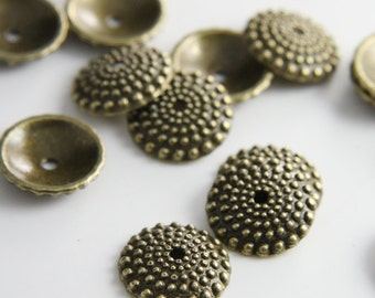 20pcs Antique Brass Tone Base Metal Findings-Cap 15x3.5mm (13250Y-K-21B)