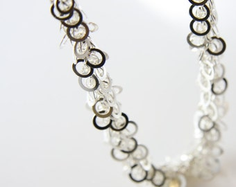 One Foot Sterling Silver Chain-Meshed and Soldered Rings