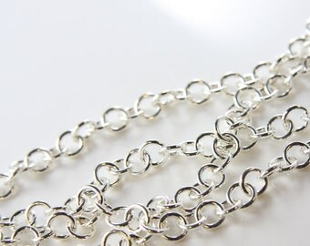 One Foot Sterling Silver Chain-Plain Round Links 8x1.5mm