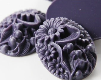 4pcs Acrylic Flower Cabochons-Dark Purple 41x32mm (F0011-A-92)