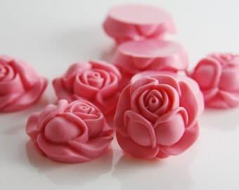 6pcs Acrylic Flower Cabochons-Pink 26x25mm (F0003-A-22)