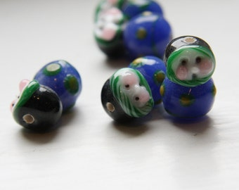 2pcs limited edition lampworked glass beads-Doll 22x16x9mm
