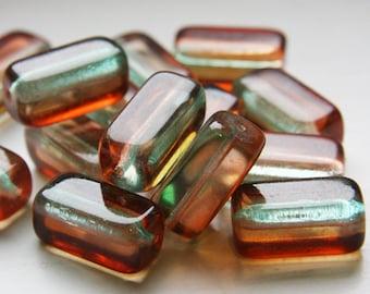 6pcs Czech Pressed Glass Rectangles-Green/Teal/Orange 23x11mm (PG54302) D*