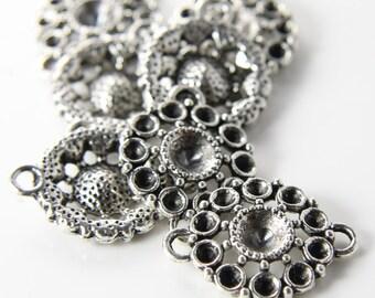 6pcs Oxidized Silver Tone Base Metal Links-Round 21mm (12840Y-D-233A)