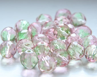 10pcs Czech Fire Polish Faceted Round-Transparent Pink Peridot 12mm (FP12092)