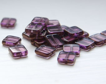 25pcs Czech Fire Polish Glass Square-Amethyst Lamp/Window 8x8mm (FP16102)