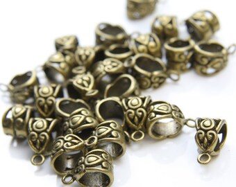 26pcs Antique Brass Tone Base Metal Findings-Bail 13x7mm (8942Y-F-151B)