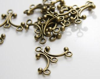 12pcs Antique Brass Tone Base Metal Multiple Hole Findings- chandelier 28x26mm (12169Y-D-193B)