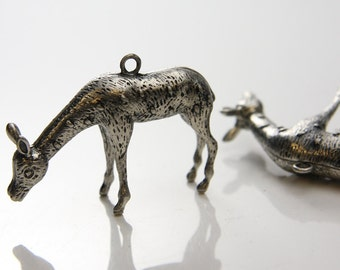 2pcs Oxidized Silver Tone Pendants-Deer 50x36mm (230C-E-181A)
