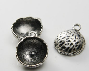 4pcs Oxidized Silver Tone Charms-Half Ball-Stone setting-Pendant 22x17mm (297C-E-233)