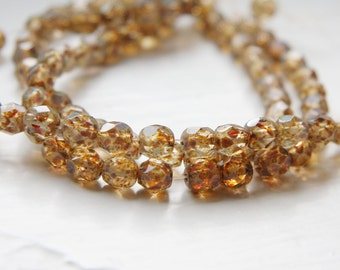 30pcs Czech Fire Polish Faceted Round-Crystal Brown Marble 6mm (FP9506003s8)